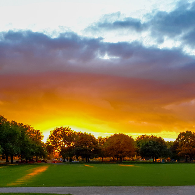 """""""Sunset over a field, The Embankment, Nottingham"""" stock image"""