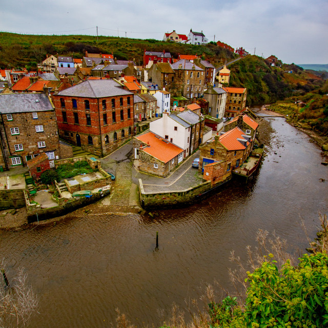 """View Overlooking Staithes Beck, Boat Slipway and Cottages"" stock image"