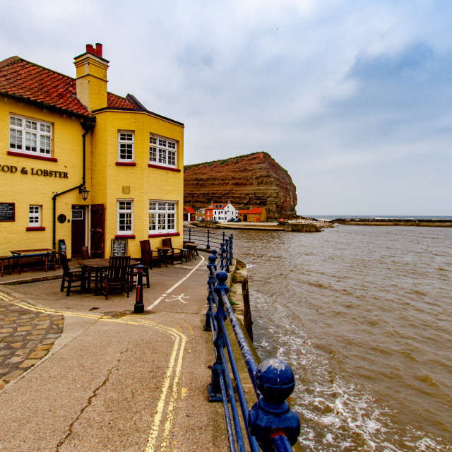 """Cod and Lobster Pub next to the harbour, Staithes, East Yorkshire Coast, England."" stock image"