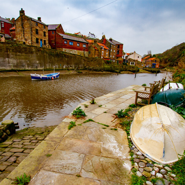 """Cobbled slipway at Staithes Beck, Staithes on Yorkshires East Coast."" stock image"