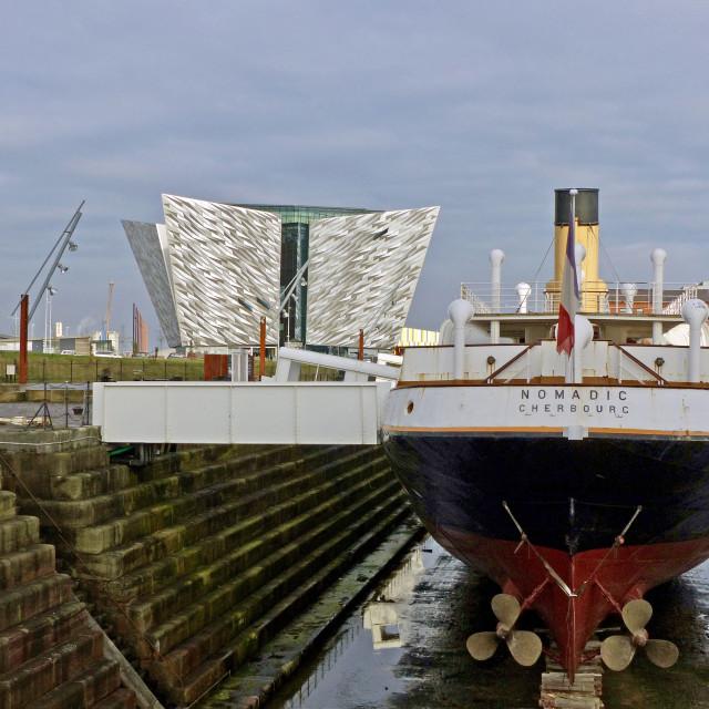 """SS Nomadic and Titanic Museum Belfast."" stock image"