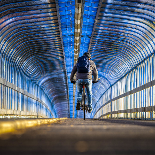 """""""Cycle Path Bridge from Cambridge South Train Station."""" stock image"""