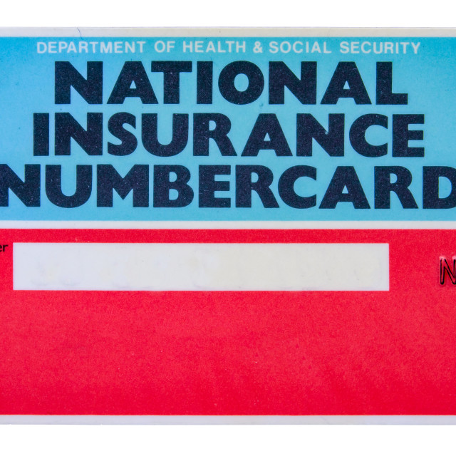 """UK National Insurance Card"" stock image"