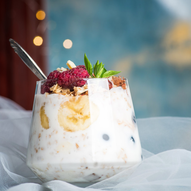 """""""Berry fruit parfait in a glass cup closeup"""" stock image"""
