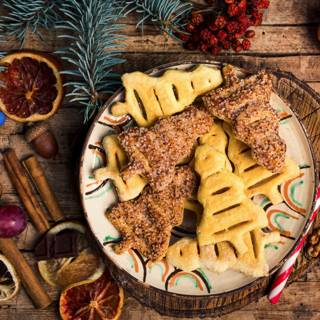 """""""Christmas tree shaped pastry and sweets"""" stock image"""