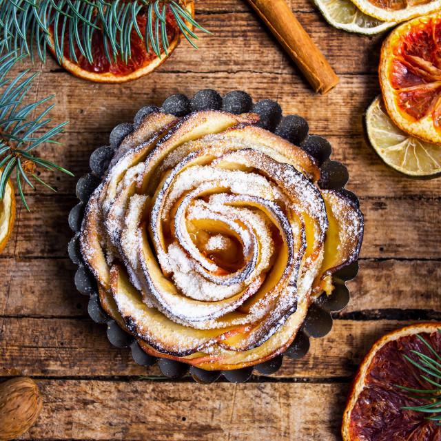 """Flower shaped baked apple pie"" stock image"