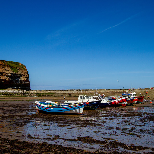 """Staithes, Cowbar Nab, Fishing Boats to the Foreground. Yorkshire Coast, England."" stock image"