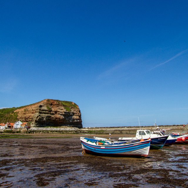 """Staithes and Cowbar Nab, Fishing Boats to the Foreground. Yorkshire Coast, England."" stock image"