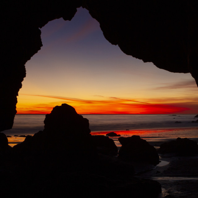"""""""Sunset from a sea cave"""" stock image"""