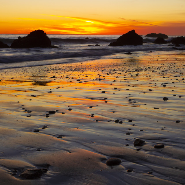 """""""Sunset on a Southern California beach"""" stock image"""