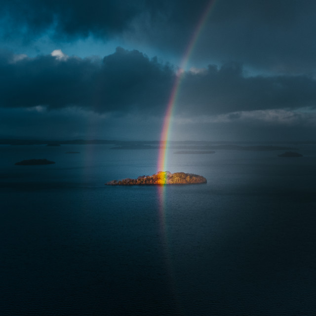"""""""Island at the end of a rainbow, Lough Corrib, Galway."""" stock image"""