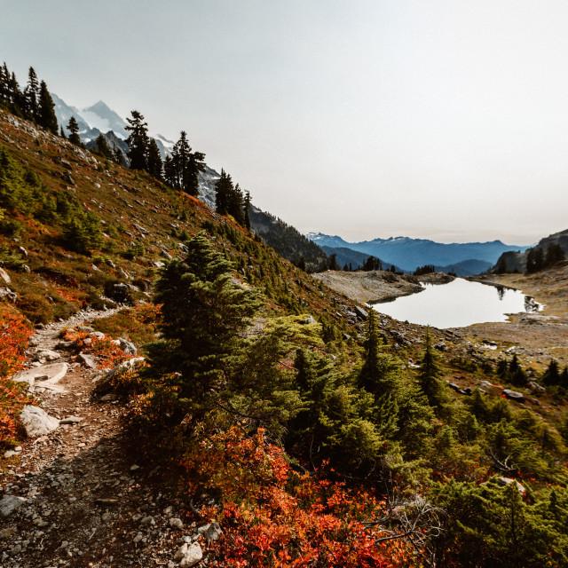 """""""Hike to Lake Ann"""" stock image"""