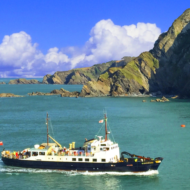 """""""MS Oldenburg coming back from Lundy Island"""" stock image"""