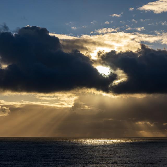"""Sunburst off the Purbeck Coast"" stock image"