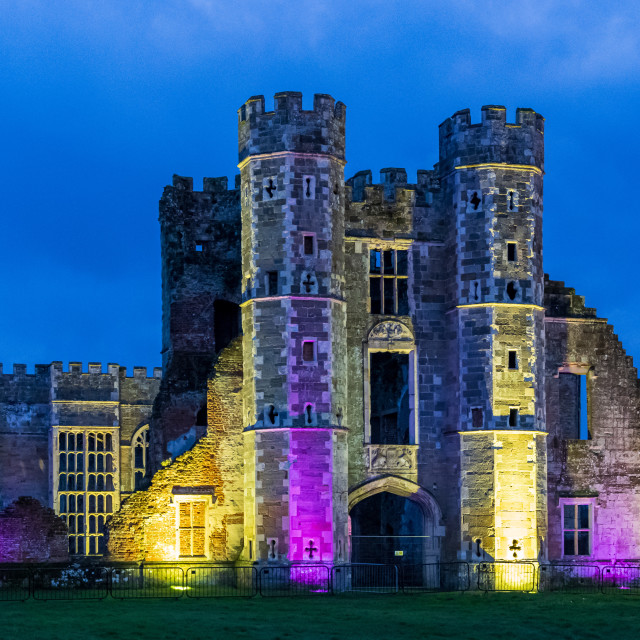 """""""The floodlit ruins of Cowdray Castle"""" stock image"""