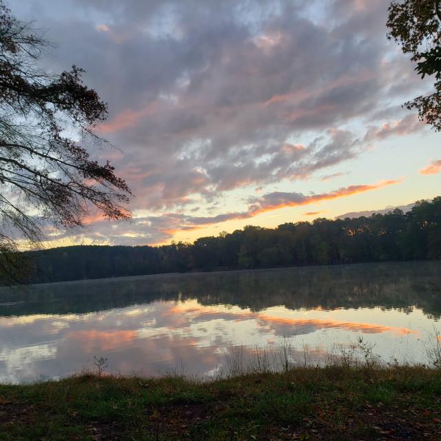 """Sunset on Jackson Island in Spring City, TN"" stock image"