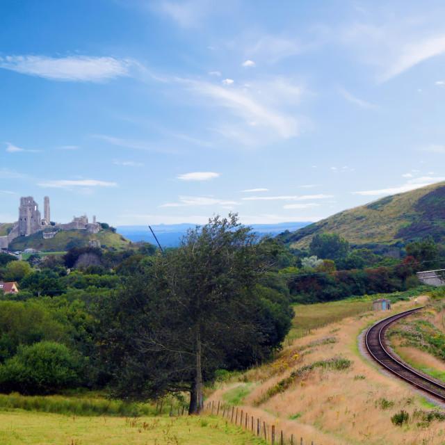 """Corfe Castle & Swanage Steam Railway"" stock image"