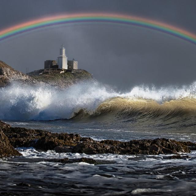"""Rainbow over Mumbles lighthouse"" stock image"