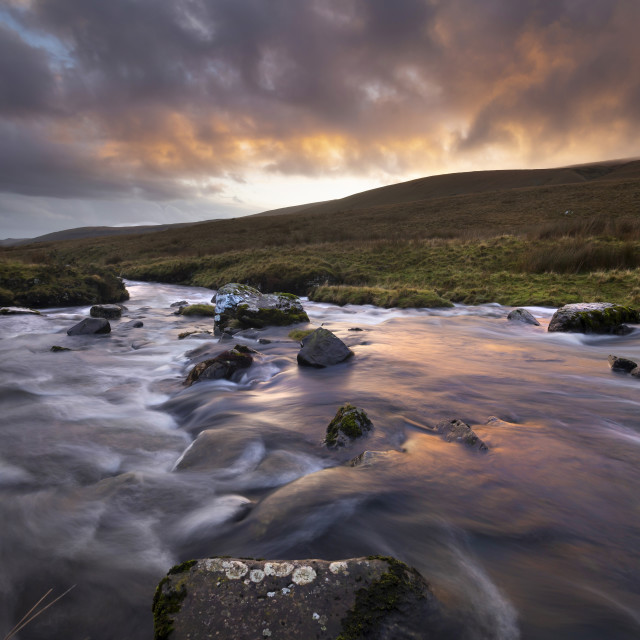 """""""Sunset over the river Tawe"""" stock image"""