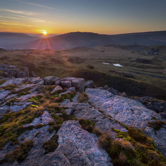 """Sunset at Penwyllt"" stock image"