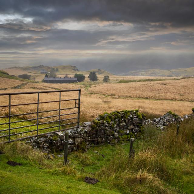 """The rugged headland of Penwyllt"" stock image"