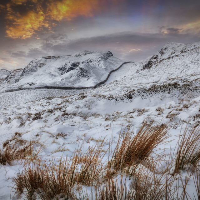 """""""The snow capped beauty of Cribarth mountain"""" stock image"""