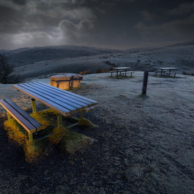 """""""Early morning at the picnic table"""" stock image"""