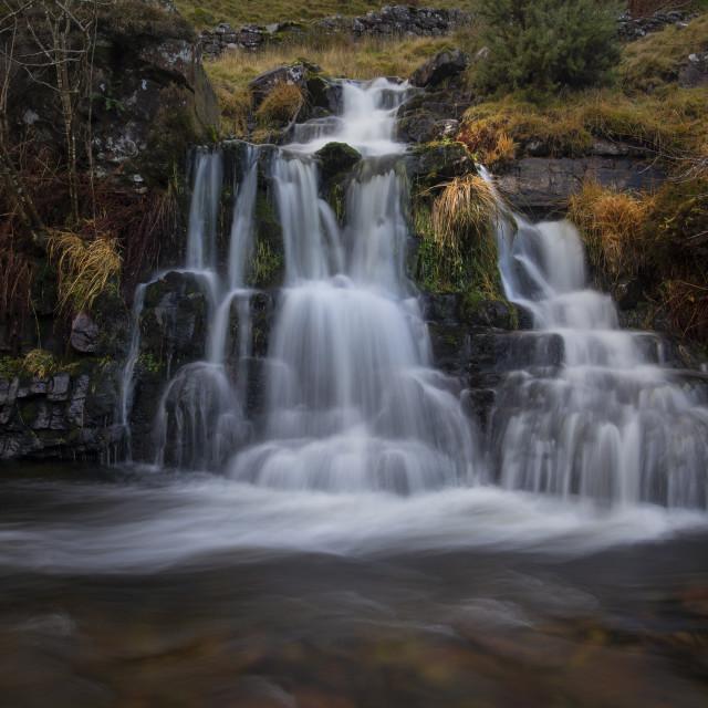 """River Tawe waterfall"" stock image"