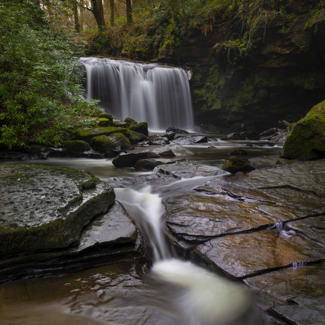 """""""Waterfall on The Upper Clydach River in Pontardawe, Swansea"""" stock image"""