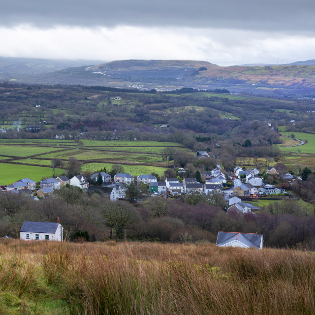 """""""The village of Rhiwfawr in the upper Swansea Valley"""" stock image"""