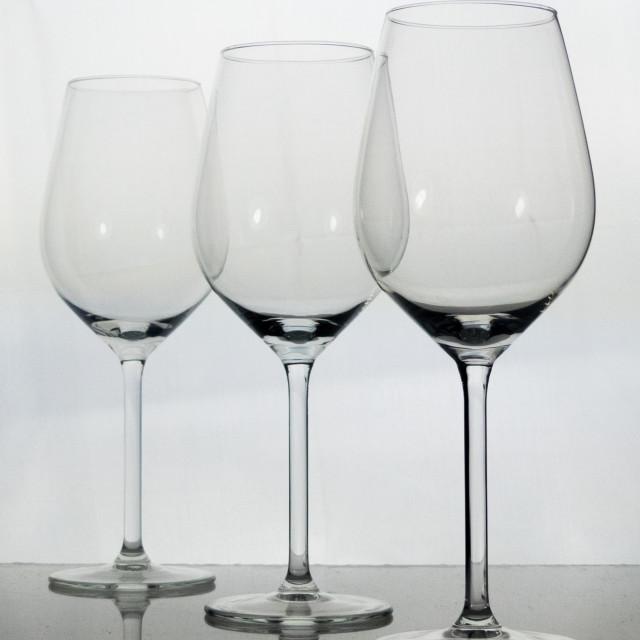 """""""Three empty wine glasses"""" stock image"""