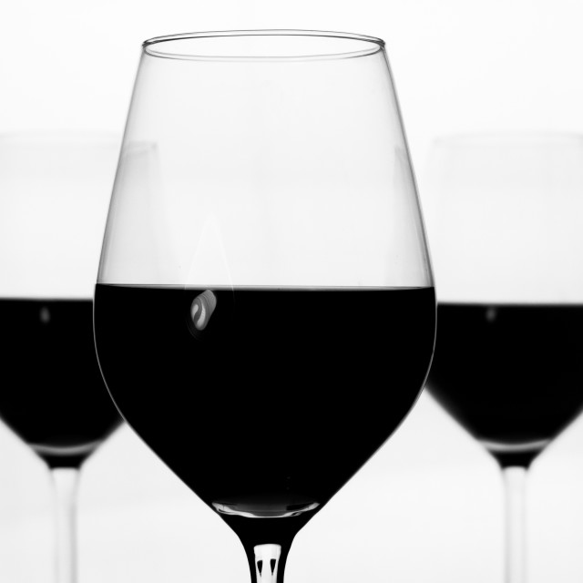 """Red wine glasses"" stock image"