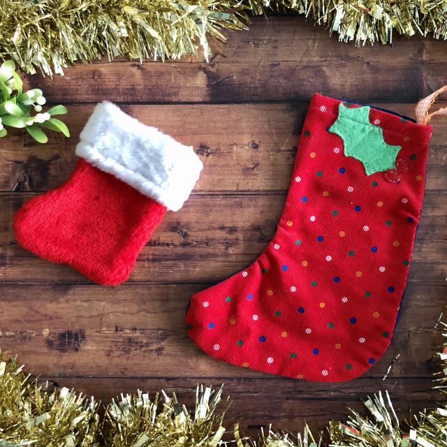 """Christmas stocking flat lay"" stock image"