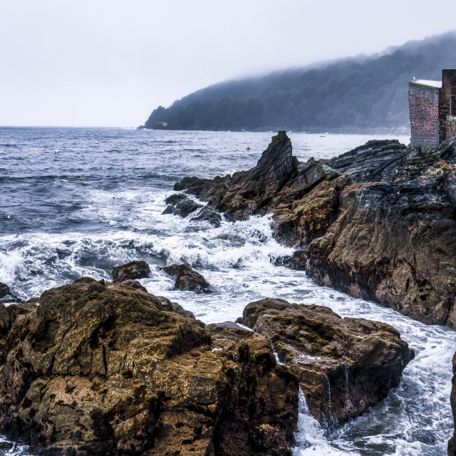 """""""Stormy Seas from Cawsand, Cornwall UK."""" stock image"""