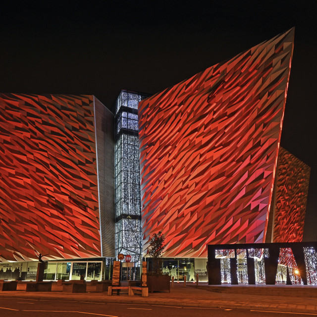 """Titanic Belfast Christmas Lights"" stock image"
