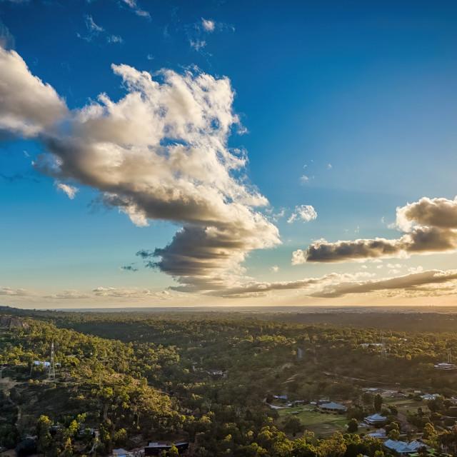 """Aerial Sunset, Perth Hills"" stock image"