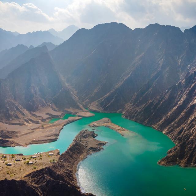 """Hatta Dam Lake in eastern region of Dubai, United Arab Emirates"" stock image"
