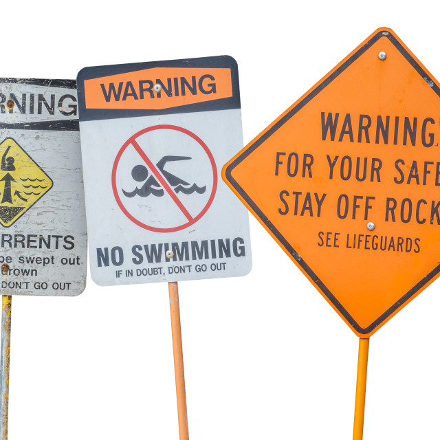 """Isolated Water Warning Signs"" stock image"