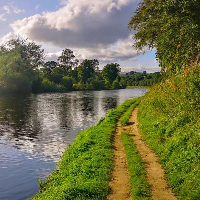 """Riverside walks in Melrose."" stock image"