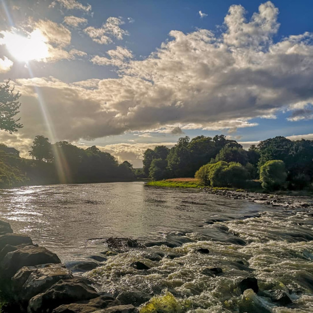 """Glistening River Tweed"" stock image"