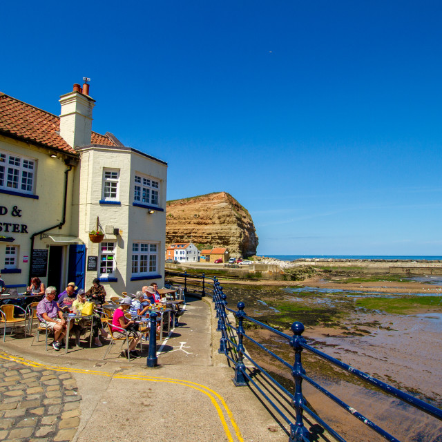 """""""Cod and Lobster Public House, Staithes, Yorkshire, England."""" stock image"""