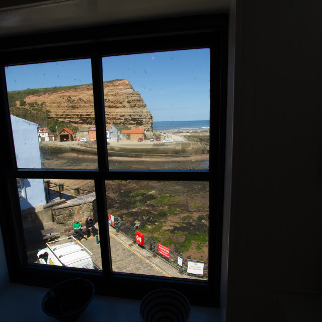 """Cod and Lobster Public House, High Street, Staithes, Yorkshire, England. View through First Floor Window. Photographed 03/07/2019"" stock image"