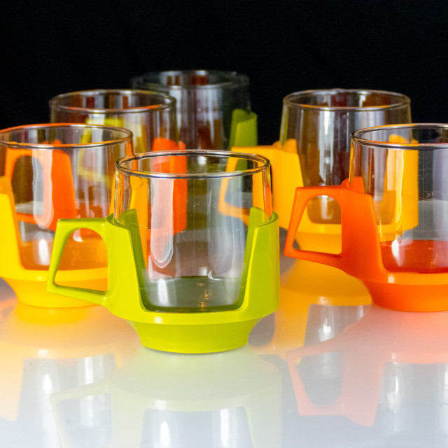 """Glass and plastic cups"" stock image"
