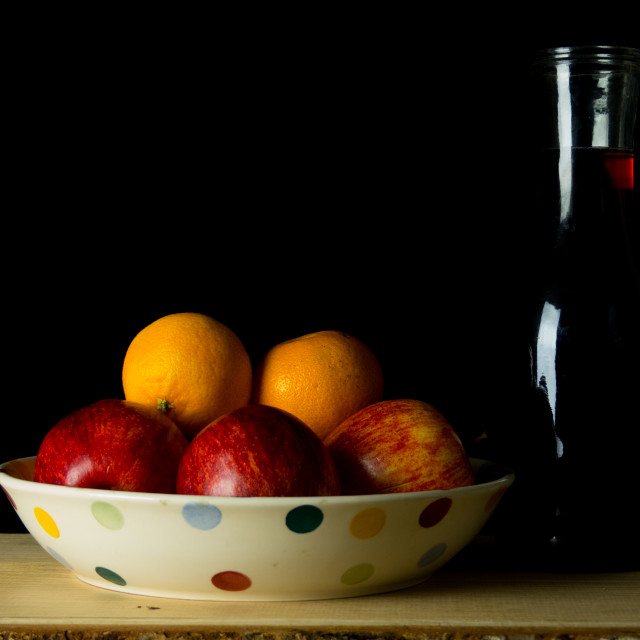 """Still life apples and oranges"" stock image"