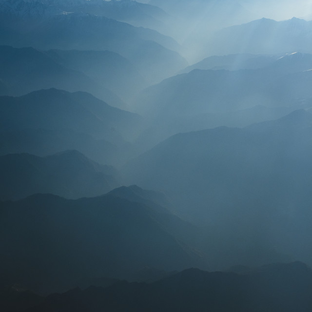 """""""Mountains and Morning Light"""" stock image"""