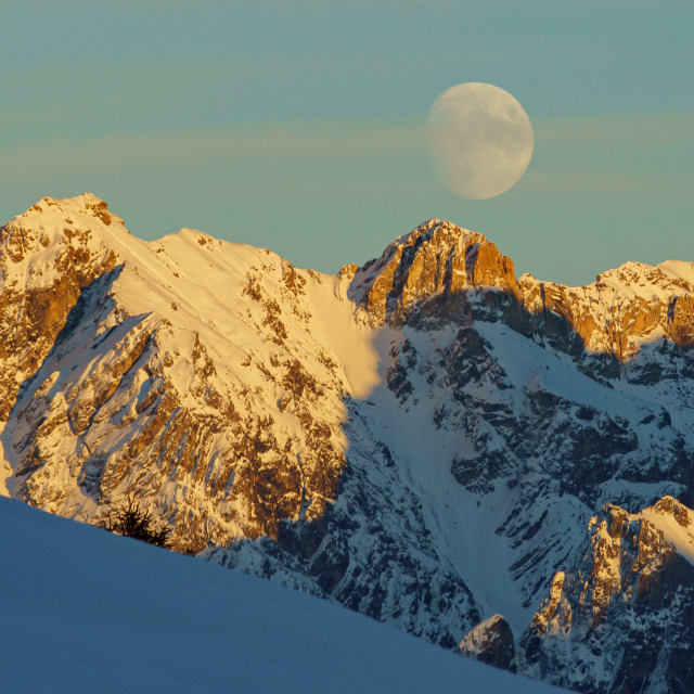 """""""fullmoon over the alps"""" stock image"""
