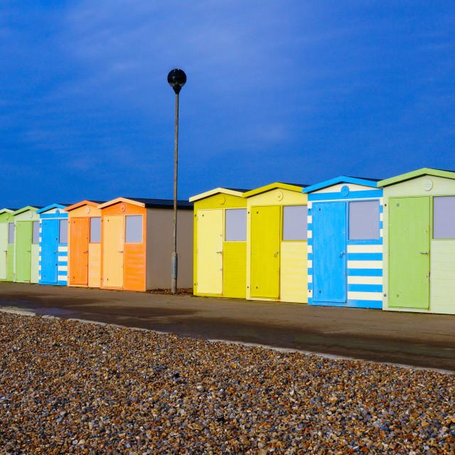 """""""Bright Colourful Beach Huts"""" stock image"""
