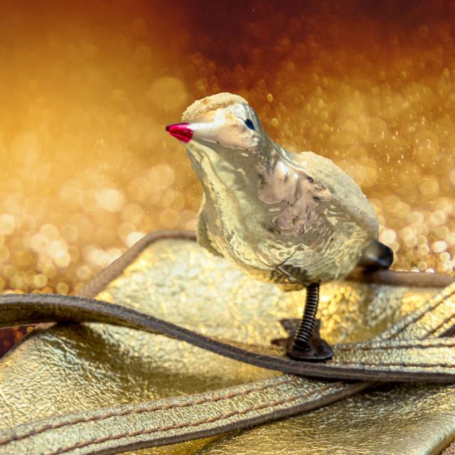 """Golden vintage Christmas tree bird"" stock image"