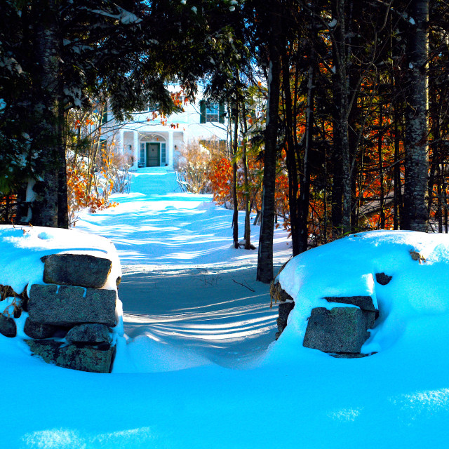 """""""LOOKING UP A SNOWY PATHWAY THROUGH GRANITE GATE"""" stock image"""