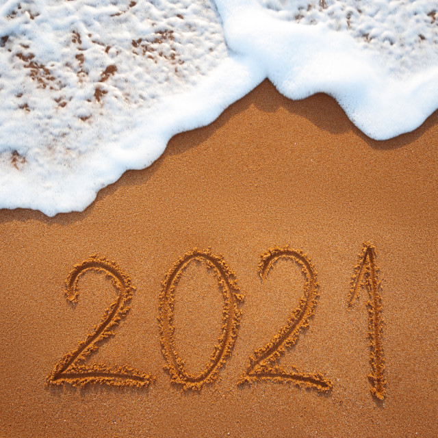 """Happy New Year 2021 concept, lettering on the beach. Written tex"" stock image"